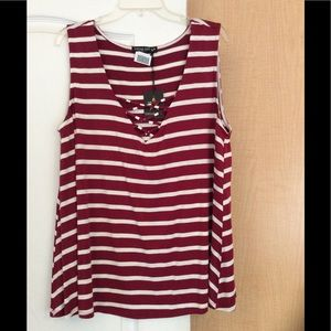 New living doll Burgundy/Cream striped top plus 2X